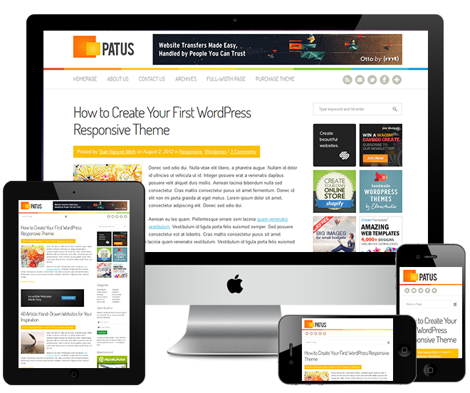 Patus WordPresss Theme : Free Clean Responsive WordPress Theme